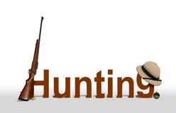 Sinal da caça com rifle e chapéu Fotografia de Stock Royalty Free