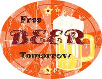 Sinal da cerveja do vintage, sujo, Imagens de Stock Royalty Free