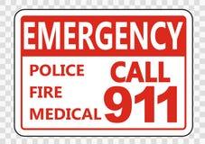 sinal da chamada de emergência 911 do símbolo no fundo transparente ilustração do vetor