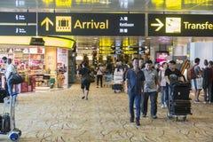 Sinal da chegada do aeroporto internacional de Singapura Changi Fotos de Stock