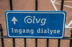 Sinal da diálise no hospital Amsterdão de OLVG os Países Baixos fotos de stock
