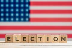 Sinal da eleição com a bandeira americana Fotos de Stock