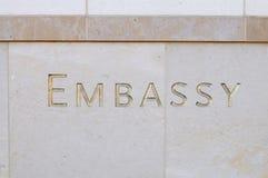 Sinal da embaixada Fotografia de Stock Royalty Free