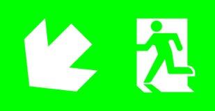Sinal da emergência/saída sem texto no fundo verde para standar imagem de stock