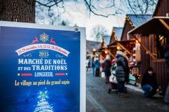 Sinal da entrada do mercado do Natal de Longueuil fotografia de stock