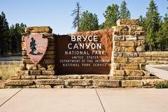 Sinal da entrada do parque nacional da garganta de Bryce Fotografia de Stock