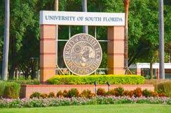 Sinal da entrada do terreno de University of South Florida Foto de Stock Royalty Free
