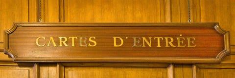 Sinal da entrada dos cartes um d de madeira ' fotos de stock royalty free
