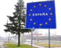 Sinal da Espanha na placa azul Fotografia de Stock