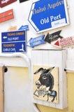 Sinal da estação do asno, Santorini Imagem de Stock Royalty Free