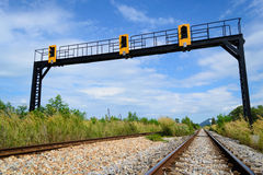 Sinal da estrada de ferro Foto de Stock