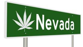 Sinal da estrada de Nevada com folha da marijuana Imagem de Stock Royalty Free