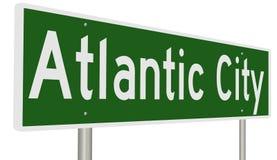 Sinal da estrada para Atlantic City Foto de Stock Royalty Free