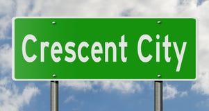 Sinal da estrada para Crescent City California Imagem de Stock Royalty Free