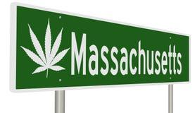Sinal da estrada para Massachusetts com folha da marijuana Fotografia de Stock Royalty Free