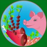 Sinal da exploração agrícola de porco Foto de Stock Royalty Free