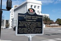 Sinal da igreja de Dexter Avenue King Memorial Baptist imagem de stock