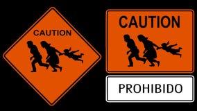 Sinal da imigração ilegal Fotografia de Stock Royalty Free