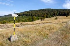 Sinal da informações turísticas ao pico de Bogdan Fotografia de Stock