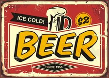 Sinal da lata do vintage da cerveja ilustração royalty free