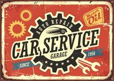 Sinal da lata do vintage do serviço do carro ilustração royalty free