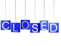 sinal da loja 3d fechado no fundo branco Foto de Stock Royalty Free