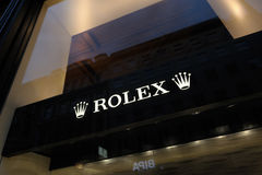 Sinal da loja de Rolex em Viena Fotos de Stock Royalty Free