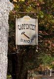 Sinal da loja do carpinteiro Foto de Stock