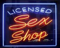Sinal da loja do sexo Fotografia de Stock