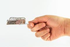 Sinal da mão da mulher com o isolado superior das bandejas no fundo branco Imagens de Stock