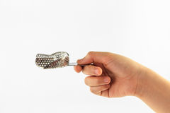 Sinal da mão da mulher com o mais baixo isolado das bandejas no fundo branco Imagem de Stock Royalty Free
