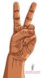 Sinal da mão da vitória, ilustração detalhada do vetor Fotos de Stock Royalty Free