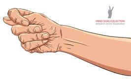 Sinal da mão do fico do figo, ilustração detalhada do vetor Imagens de Stock Royalty Free
