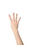 Sinal da mão do número quatro Imagem de Stock Royalty Free