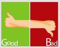 Sinal da mão mau e bom Imagem de Stock