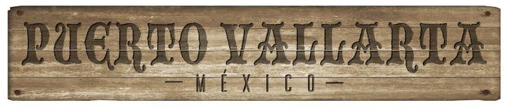 Sinal da madeira de Puerto Vallarta México imagens de stock royalty free