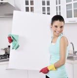 Sinal da mulher de limpeza Fotografia de Stock Royalty Free