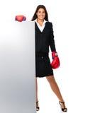 Sinal da mulher de negócio do encaixotamento imagens de stock royalty free