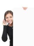 Sinal da mulher dos auriculares foto de stock