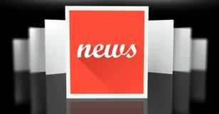 Sinal da notícia em paredes do suporte da galeria da exposição Imagem de Stock