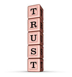 Sinal da palavra da confiança Pilha vertical de Rose Gold Metallic Toy Blocks Foto de Stock