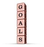 Sinal da palavra dos objetivos Pilha vertical de Rose Gold Metallic Toy Blocks Fotos de Stock