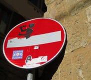 Sinal da parada de Europa com grafittis Foto de Stock Royalty Free