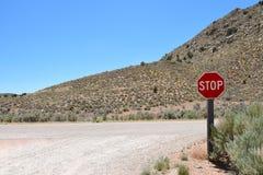 Sinal da parada do deserto Foto de Stock Royalty Free