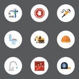 Sinal da parada dos ícones, pneumático lisos, torneira e outros elementos do vetor O grupo de símbolos lisos dos ícones da constr ilustração royalty free
