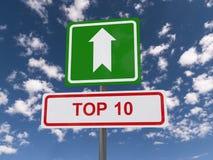Sinal da parte superior 10 Imagens de Stock
