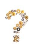 Sinal da pergunta composto com rodas denteadas Fotos de Stock Royalty Free