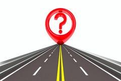 Sinal da pergunta na estrada Fotografia de Stock Royalty Free