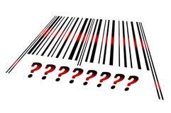 Sinal da pergunta no código de barras Fotos de Stock