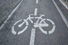 Sinal da pista da bicicleta Foto de Stock Royalty Free